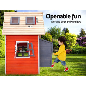 Kids Cubby House Wooden Outdoor Playhouse Childrens Toys Party Gift - My Bonza Deals