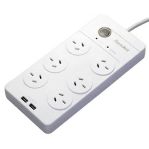 Huntkey 6 Outlet Surge Protected Powerboard with Dual USB Charging Ports