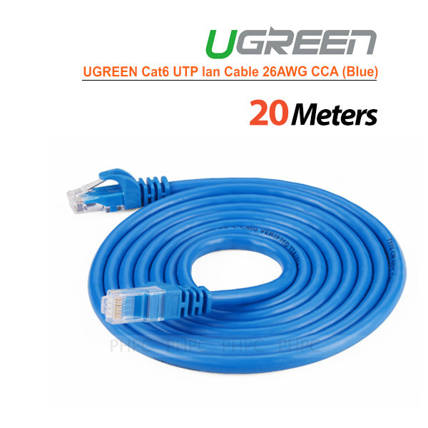 UGREEN Cat6 UTP lan cable blue Color 26AWG CCA 20M - My Bonza Deals