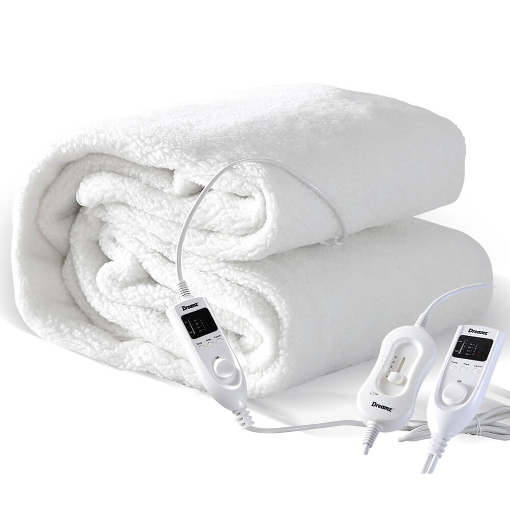 2x DreamZ 450 GSM Fleecy Electric Blanket Heated Warm Winter Fitted Queen Size