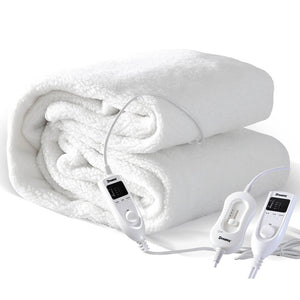 2x DreamZ 450 GSM Fleecy Electric Blanket Heated Warm Winter Fitted Single Size