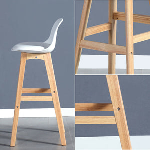 4x Levede Beech Wooden Bar Stool Kitchen Stool Dining Chair Barstools White