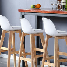 Load image into Gallery viewer, 4x Levede Beech Wooden Bar Stool Kitchen Stool Dining Chair Barstools White