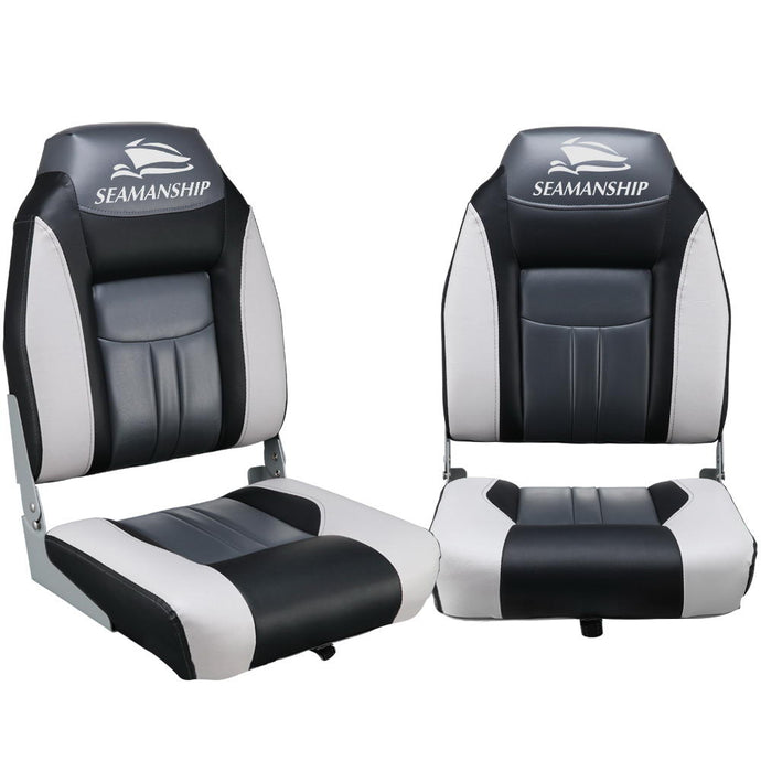 Seamanship Set of 2 Folding Swivel Boat Seats - Grey & Black - My Bonza Deals