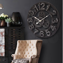 Load image into Gallery viewer, Chic Large Art Wall Clock Rustic Iron Metal Vintage Industrial luxury French