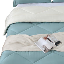 Load image into Gallery viewer, DreamZ Microfibre Reversible Quilt Duvet Cover and Pillowcase Set in Queen Size