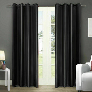 2x Blockout Curtain 3 Layers Eyelet Pure Fabric Room Darkening 140x160cm Black