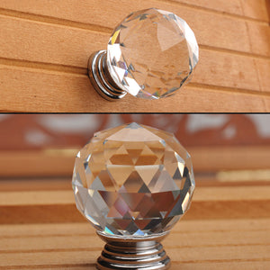 30mm 20Pack Clear Crystal Glass Door Pull Knobs Knob Drawer Handle Cabinet +Screw