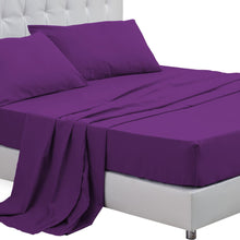Load image into Gallery viewer, DreamZ Queen Size 4 Piece Bed Sheet Set Flat Fitted Pillowcase Purple Colour