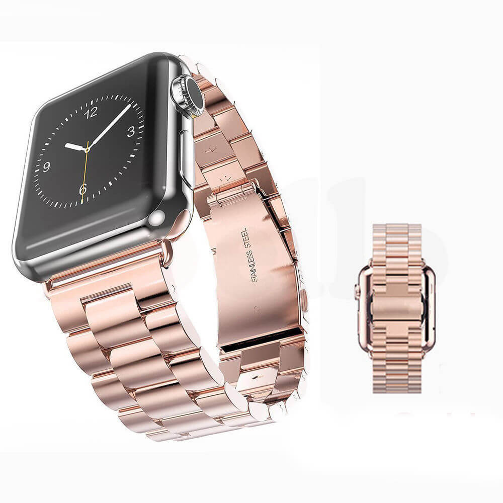 Replacement Stainless Steel Strap Band Clasp for Apple Watch /Sport ROSE GOLD