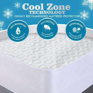 DreamZ Mattress Protector Topper Polyester Cool Cover Waterproof Super King