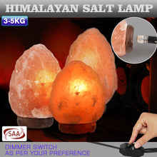 Load image into Gallery viewer, 3-5 kg Himalayan Salt Lamp Rock Crystal Natural Light Dimmer Switch Cord Globes