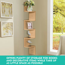 Load image into Gallery viewer, Levede 5 Tier Corner Wall Shelf Display Shelves DVD CD Storage Zig-tag Rack