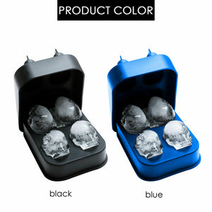 3D 4-Skull Bear Whiskey Ice Cube Maker Silicone Mold Tray Funnel Mould Bar Blue