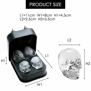 3D 4-Skull Bear Whiskey Ice Cube Maker Silicone Mold Tray Funnel Mould Bar Black