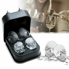 Load image into Gallery viewer, 3D 4-Skull Bear Whiskey Ice Cube Maker Silicone Mold Tray Funnel Mould Bar Black