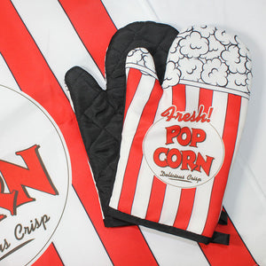 Kitchen Baking Cooking Oven Gloves Apron Set Insulated Padded Popcorn Print