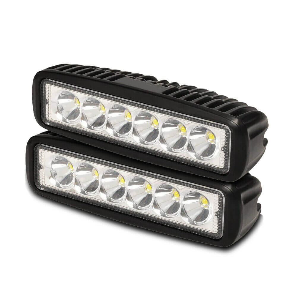 2x 6 inch 18W LED Work Light Bar Driving Lamp Flood Truck Spot Offroad UTE 4WD