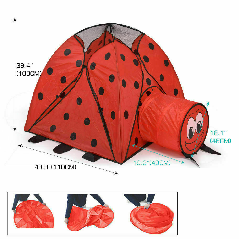 BoPeep Kid Children Pop Up Play Tent Cubby Playhouse Kids Gift Toy Ladybug Print