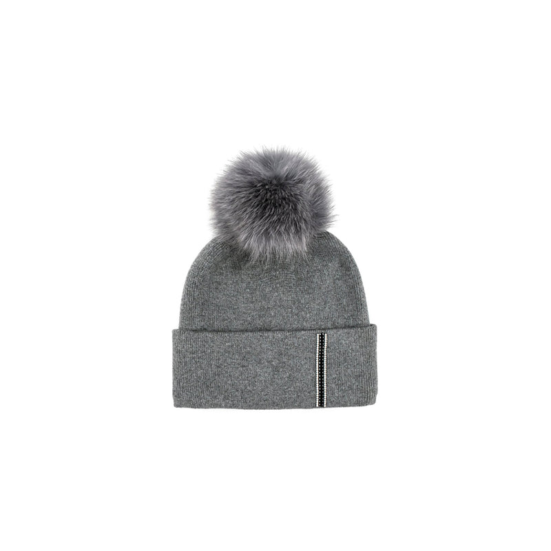 KNITTED HAT WITH BRIM STRIPE - GREY