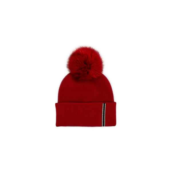 KNITTED HAT WITH BRIM STRIPE - RED