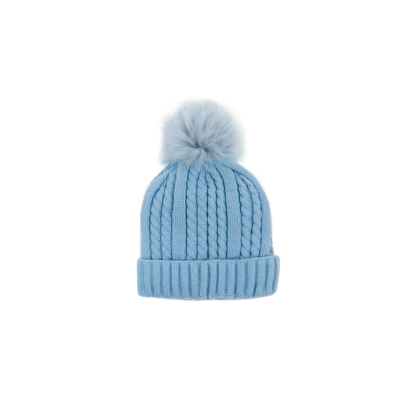 CABLE KNIT TOQUE -BABY BLUE