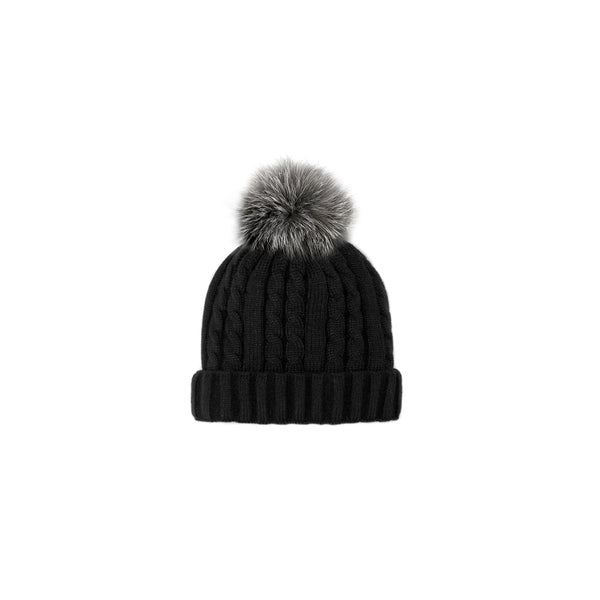 CABLE KNIT TOQUE - BLACK/GREY