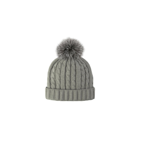 CABLE KNIT TOQUE - GREY