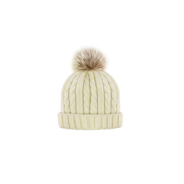 CABLE KNIT TOQUE - IVORY