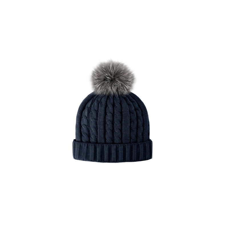 CABLE KNIT TOQUE - NAVY/GREY