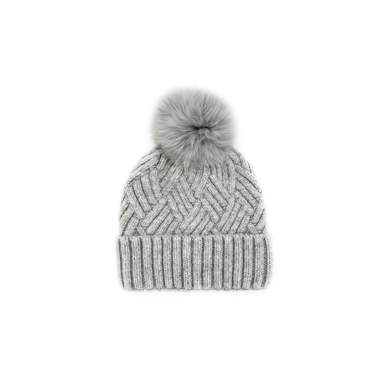 KNITTED TOQUE - LIGHT GREY