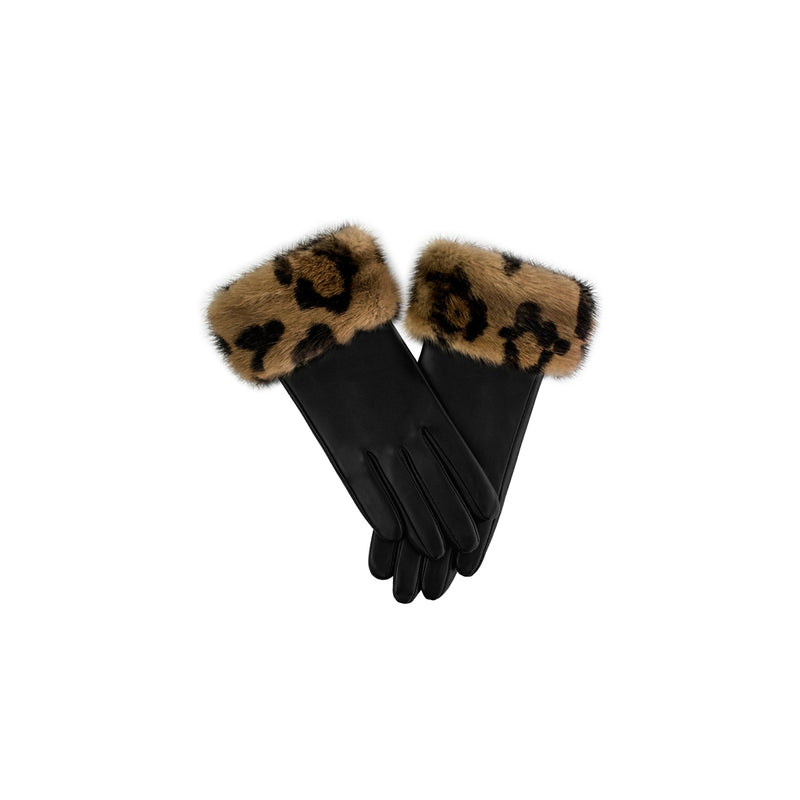 LEATHER GLOVES WITH LEOPARD FUR TRIM