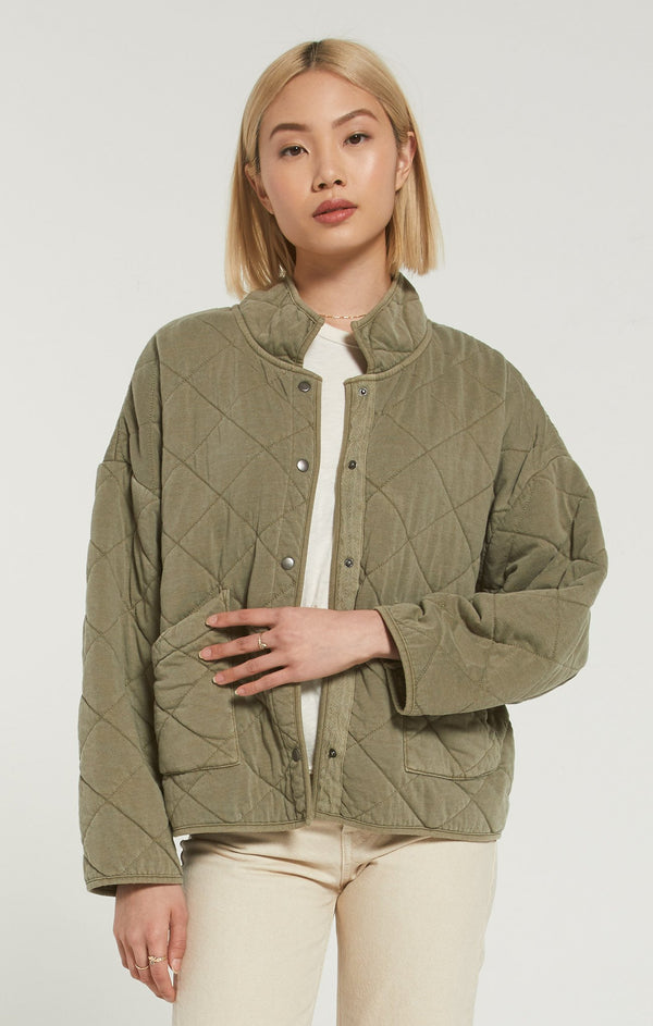 MAYA QUILTED JACKET - WASHED OLIVE