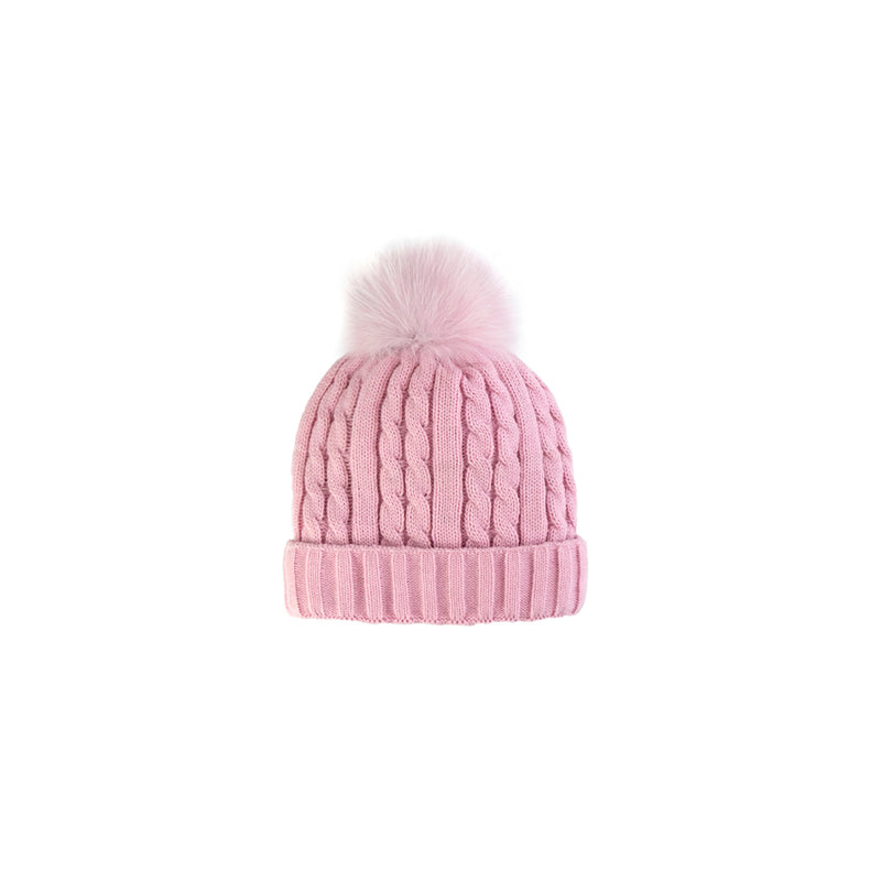 CABLE KNIT TOQUE -BABY PINK