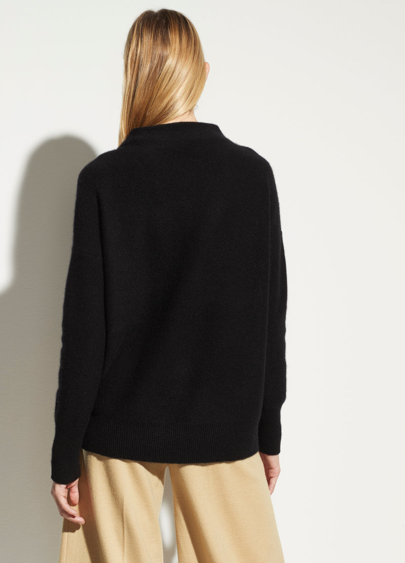 BOILED CASHMERE FUNNEL NECK PULLOVER - BLACK