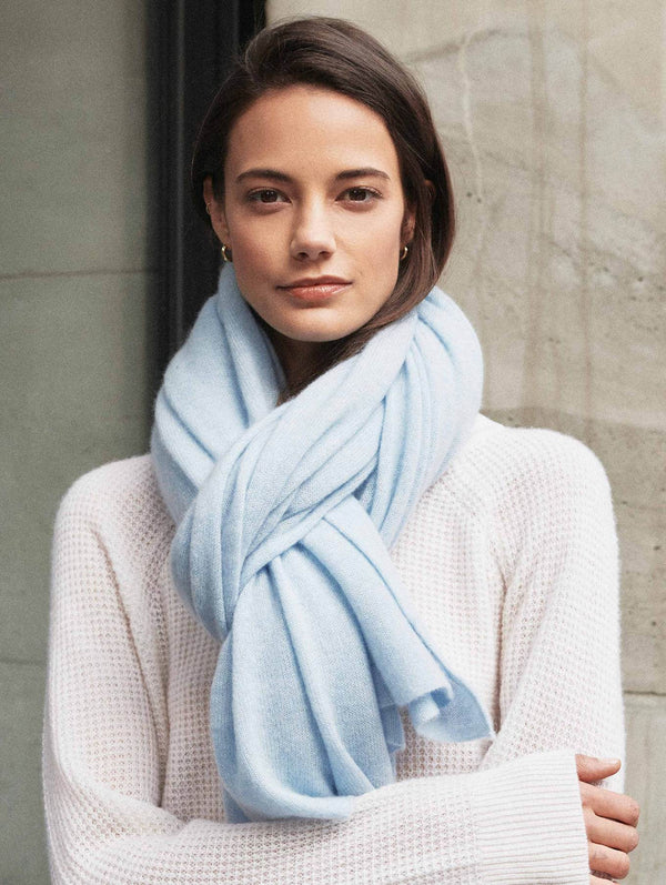 CASHMERE TRAVEL WRAP - FRESH WATER BLUE