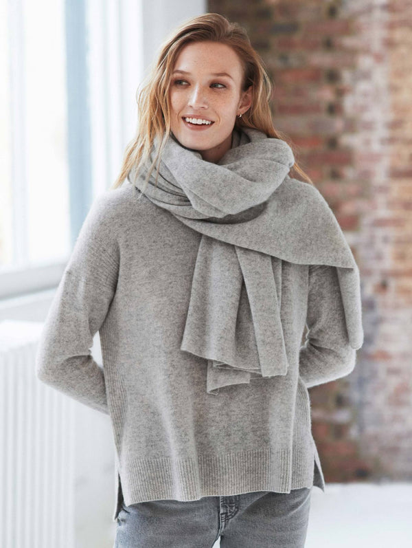 CASHMERE TRAVEL WRAP - MISTY GREY HEATHER