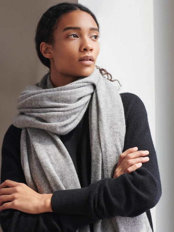 CASHMERE TRAVEL WRAP - GREY HEATHER