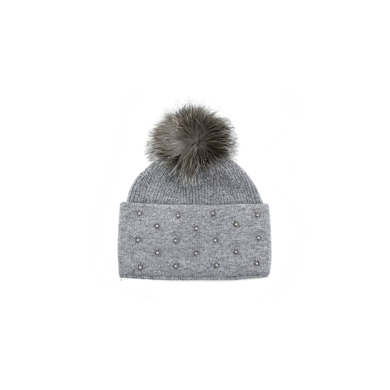 TOQUE WITH BEAD DETAIL - GREY