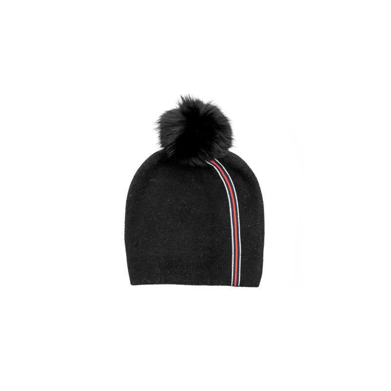 KNITTED BEANIE WITH RIBBON - BLACK