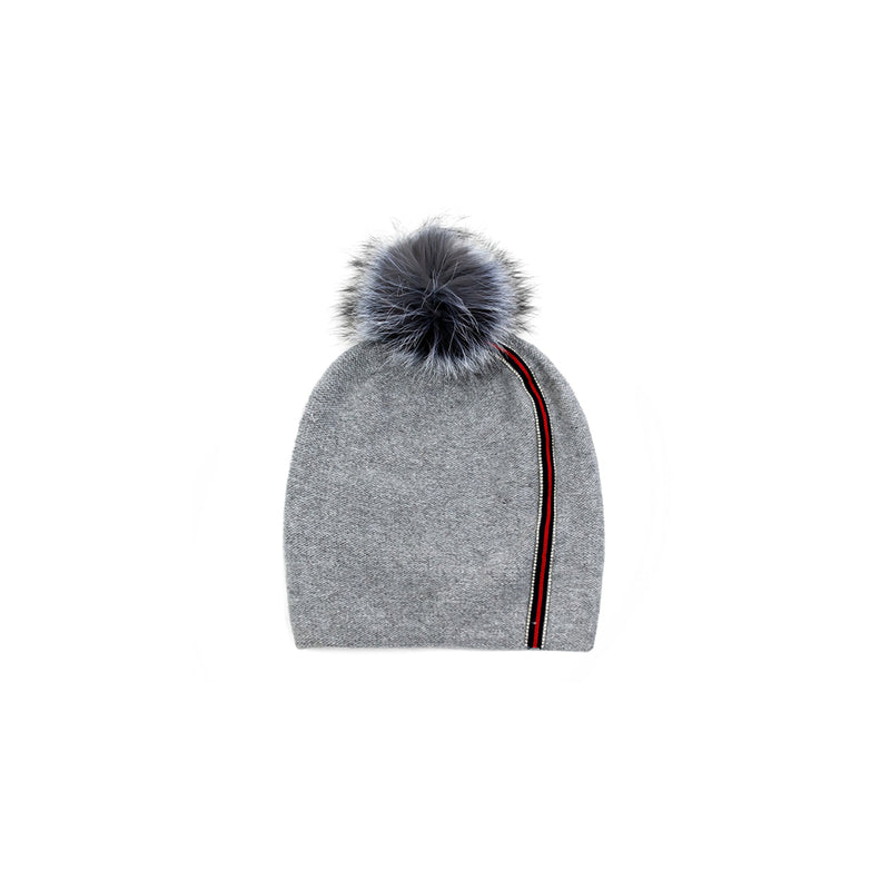 KNITTED BEANIE WITH RIBBON - GREY
