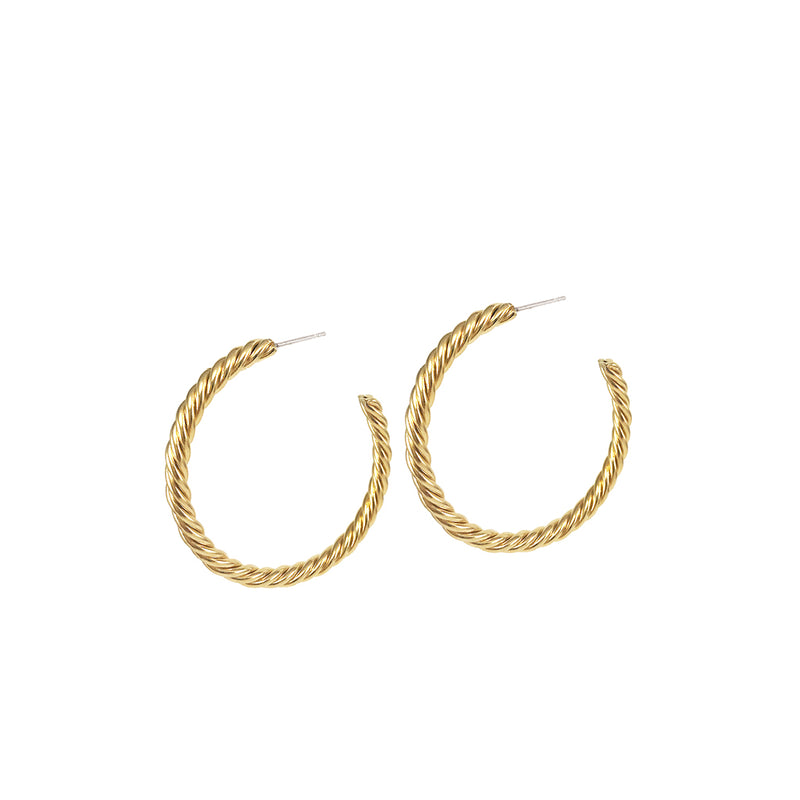 HELIX HOOPS - LARGE - GOLD