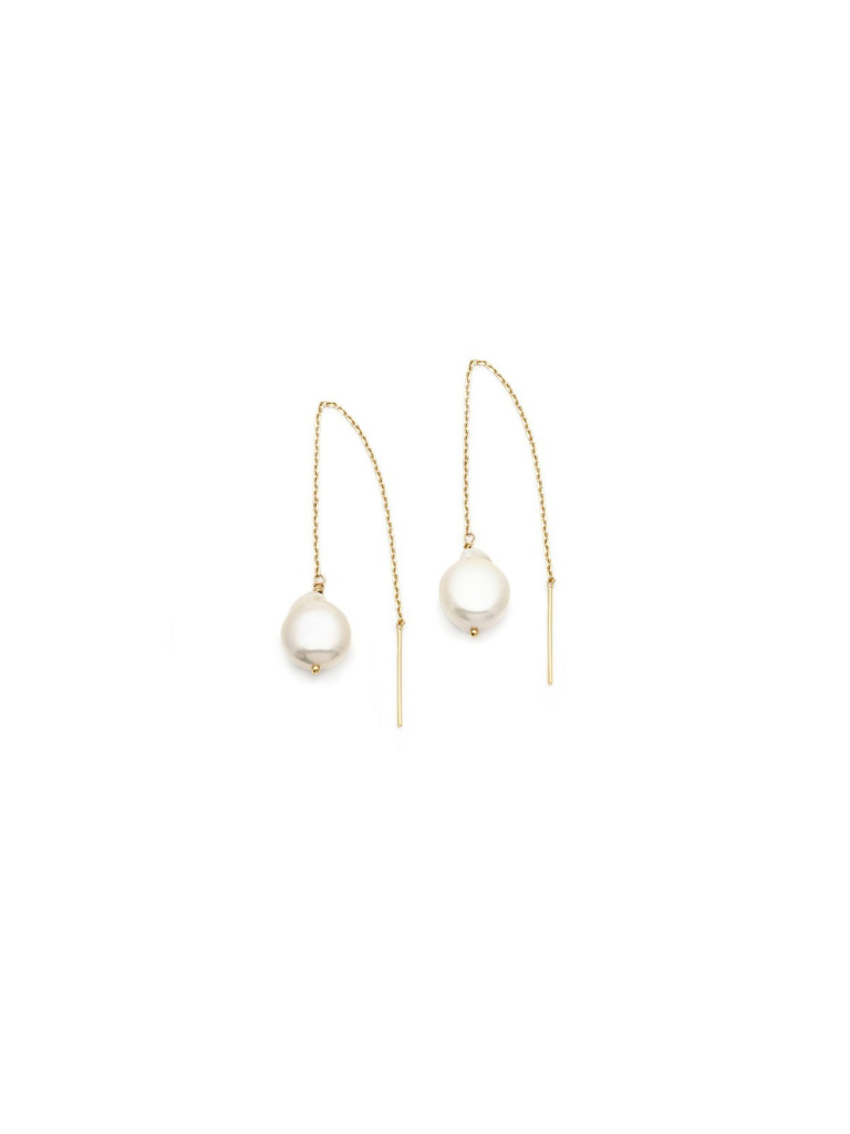 THREADER EARRINGS | GOLD/PEARL