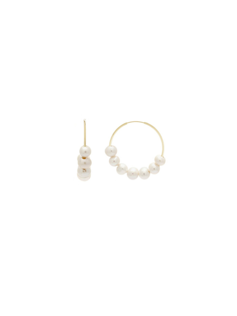 MINI CANNES HOOPS | PEARL/GOLD
