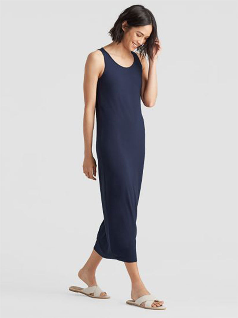 SYSTEM VISCOSE JERSEY TANK DRESS - NAVY