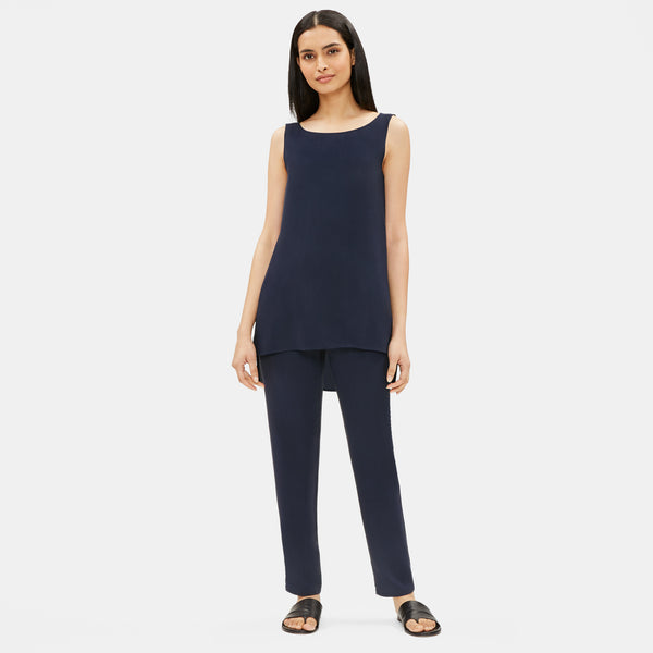 SYSTEM SILK GEORGETTE CREPE LONG SHELL - NAVY