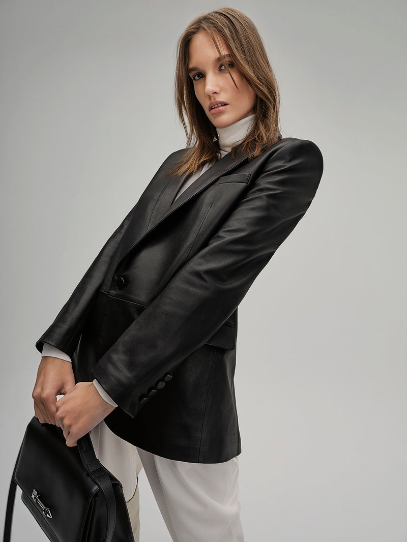 TRACY - LEATHER BLAZER - BLACK