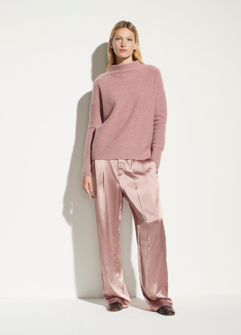 BOILED CASHMERE FUNNEL NECK PULLOVER - HEATHER MAUVE ORCHID