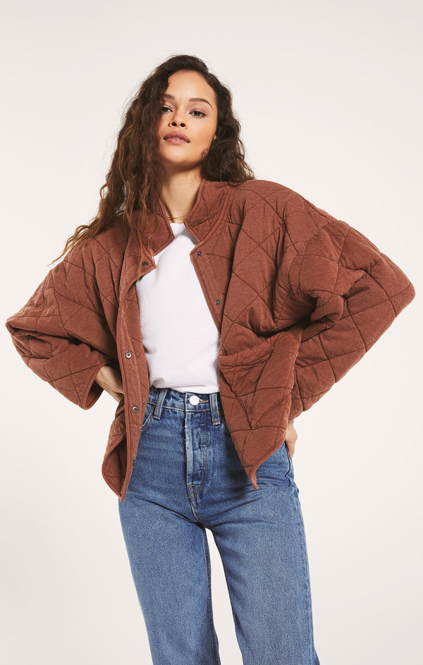 MAYA QUILTED JACKET - WHISKEY