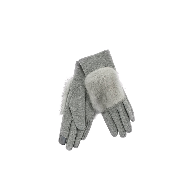 GLOVES WITH MINK FUR TRIM - GREY
